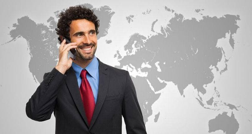 employee using mobile phone for international call