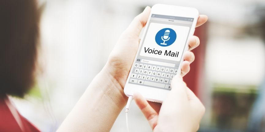 voicemail display on smartphone in user's hands