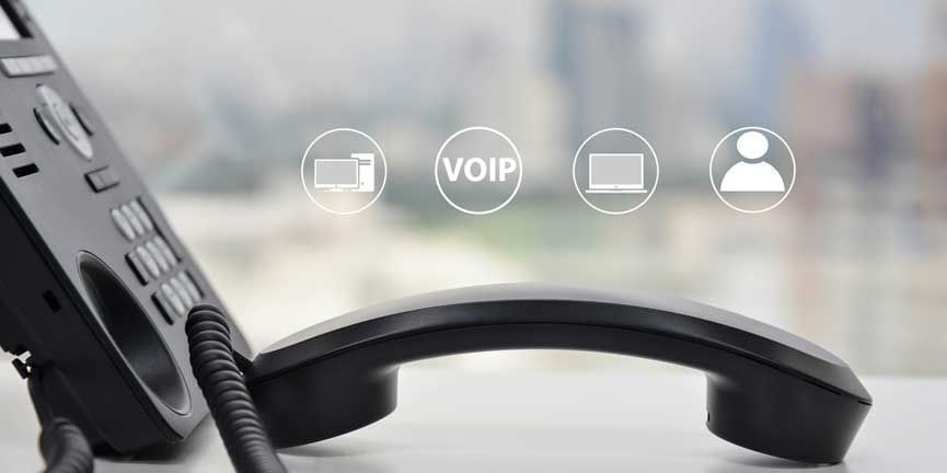 standard desk voice over ip phone with icons
