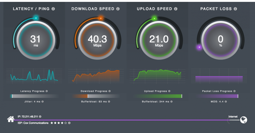 HTML5 speedtest screenshot