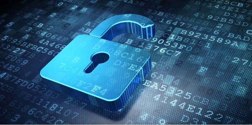 opened lock on digital data background