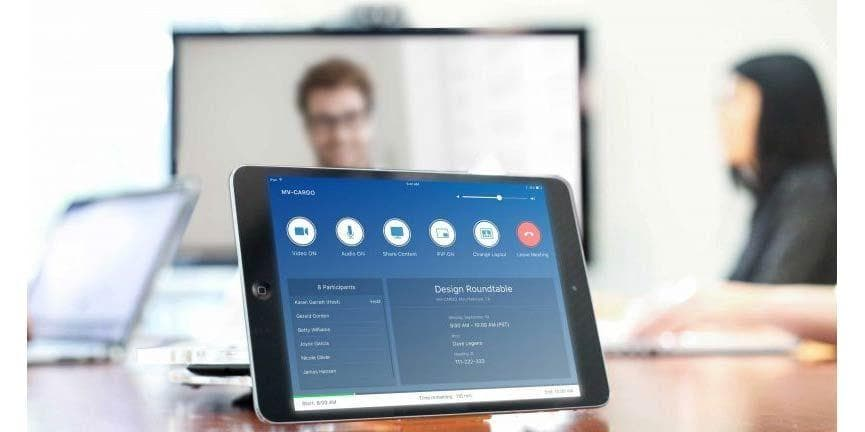 bluejeans video conferencing user interface on a tablet