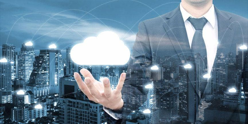 businessman with cloud network