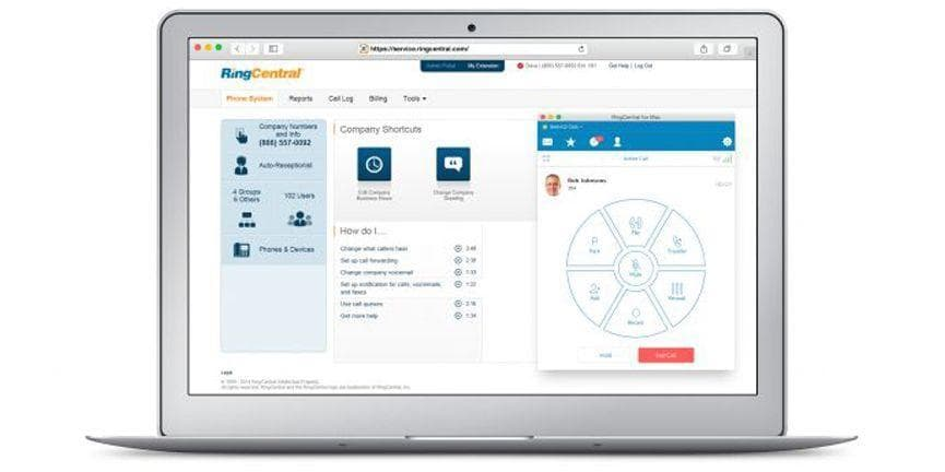 ringcentral dashboard laptop computer
