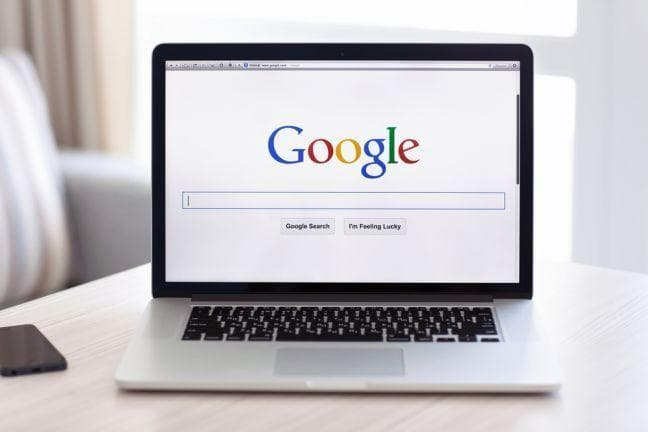 google search on laptop computer