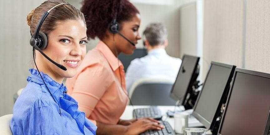 female employee in a call center