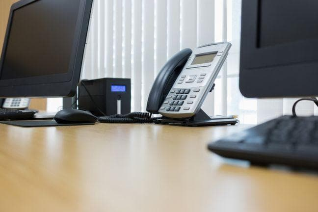 ip phone and desktop computer