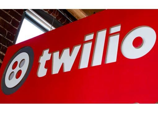 twilio red sign and logo
