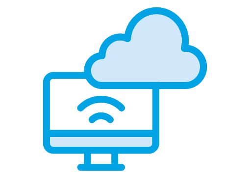 computer with cloud concept icon