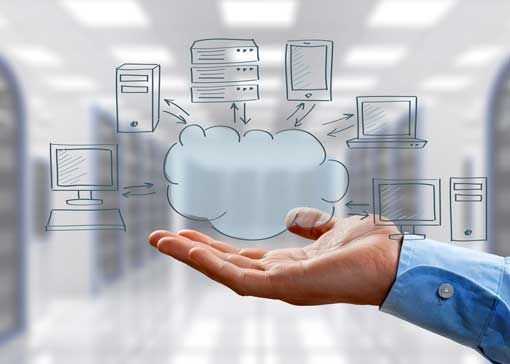 employee hand showcasing cloud architecture idea