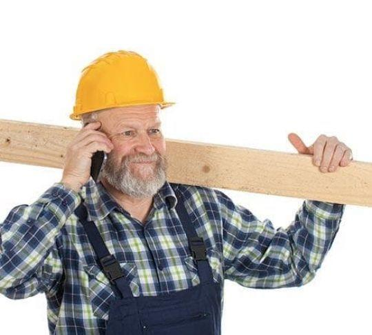 contractor on mobile device