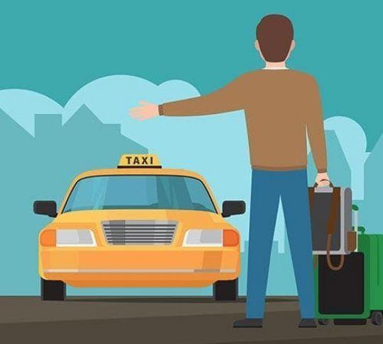 passenger hailing a taxi cab