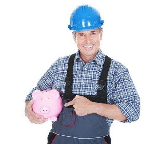 contractor saving money piggy bank