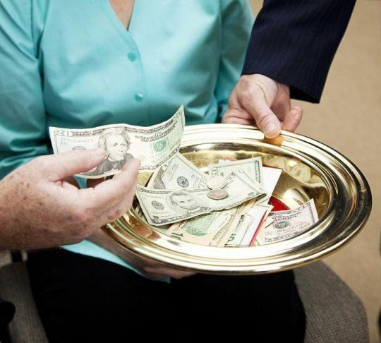 money collection plate at church