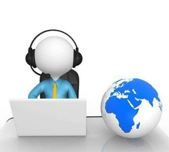 user with a headset calling via a computer