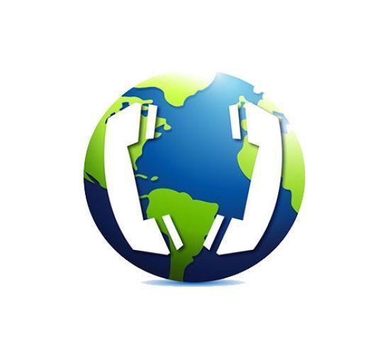 telephones overlay on world globe