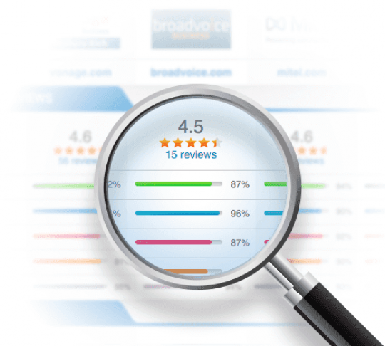 magnifying glass inspecting user reviews